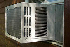Air conditioner installed in a window.