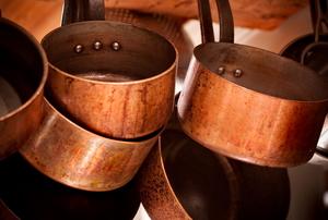 Pile of copper pots