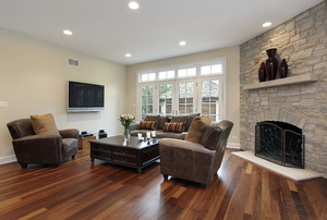 A room with hardwood floors.