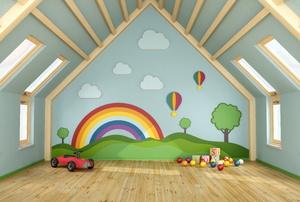 An attic playroom.