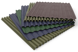 A stack of sheets of corrugated plastic.