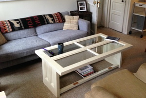 A coffee table made from reclaimed doors.