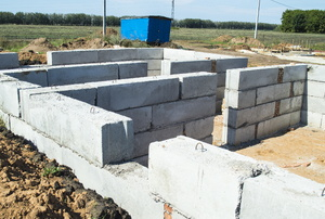 a maze of cinder block walls creating a foundation