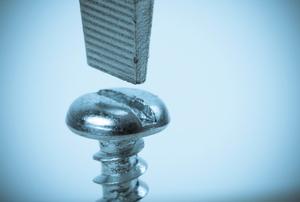 A flat head screwdriver and a screw.