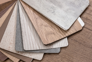 Laminate flooring samples.