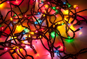 A tangle of multi-colored Christmas lights.
