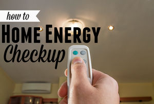 "A remote controlled light with the words ""home energy checkup."""