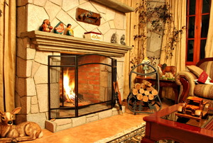 A fireplace fire in a rustic room.