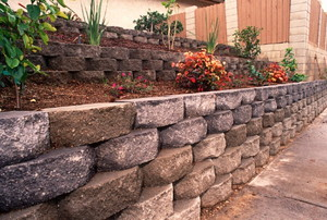 retaining wall retaining a flower bed