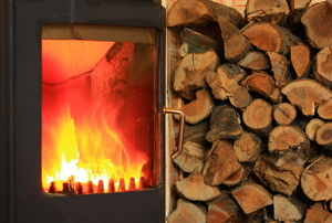 A wood burning stove.