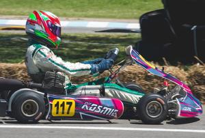 racing go kart driver and kart