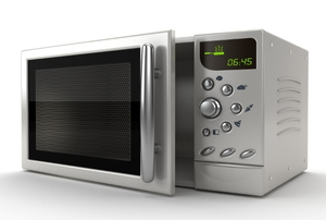 A new chrome microwave oven