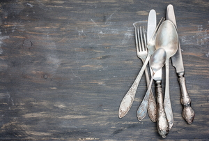 nickel-plated silverware in need of polishing