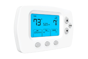 A thermostat on a white background.