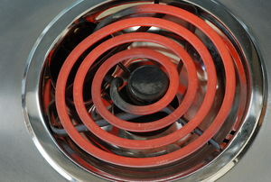 hot coil on electric stove burner