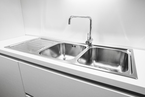 A stainless steel sink.
