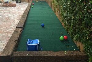 A backyard bocce ball court