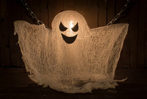 A cheesecloth Halloween ghost.