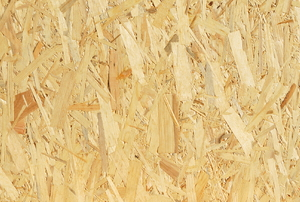 A close-up of the texture of OSB.