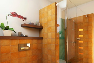 bathroom with rusty orange shower walls and cabinets