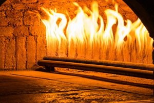 fire in a stone fireplace