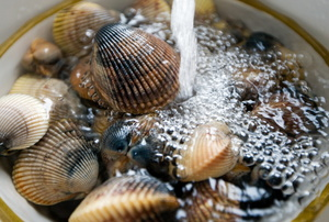 Clams being rinsed with water in a bowl.