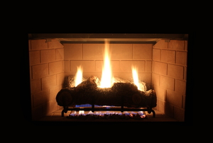 gas burning fire in a fireplace