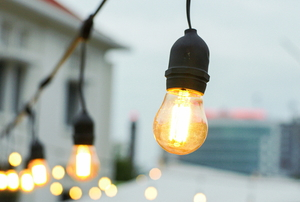 string lights with large bulbs in an outdoor space