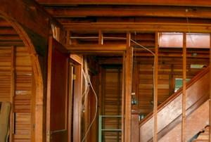 Lower level of home framed in