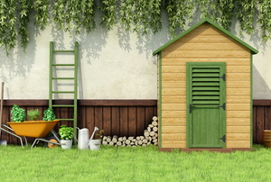 gardening shed in the backyard