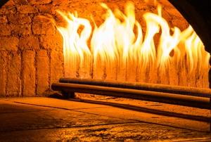 A gas fireplace.