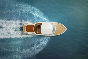 birdseye view of a boat in the water