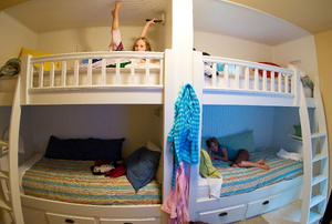 Girls in bunk beds.
