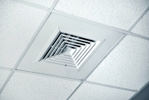 A diffuser in a suspended ceiling.