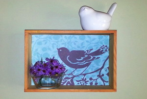 display box with bird print and flowers