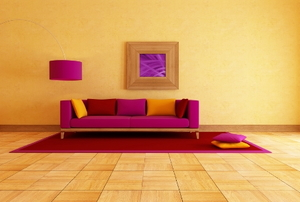 A colorful living room with contrasting furniture and walls.