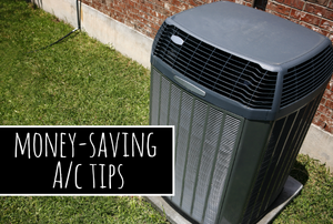 """An air conditioning unit with the words """"money-saving A/C tips."""""""