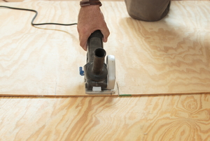 Installing a piece of flooring
