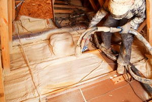 A worker pumping white foam insulation into an attic floor.