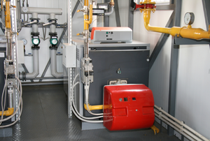 The gas boiler and other machinery in a room