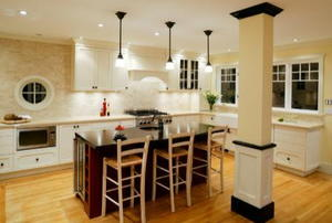 modern kitchen with lighting