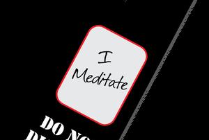"door knob hanger that reads, ""I meditate, do no disturb"""