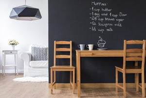 Chalkboard paint on a wall above a table