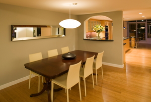 Vinyl floors in a dining room.