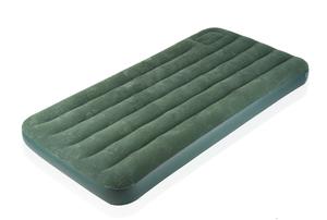 A green air mattress against a white background.