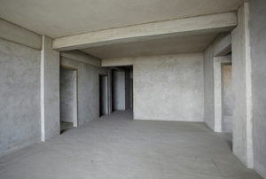 A basement with concrete floors.