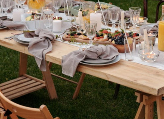 outdoor dining table with food