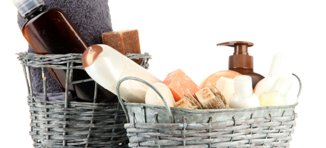 baskets with soap and a towel