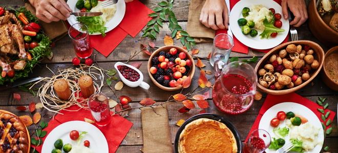 People eat at Thanksgiving.