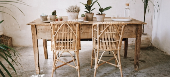 kitchen table and chairs with natural materials